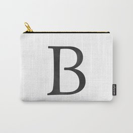 Letter B Initial Monogram Black and White Carry-All Pouch