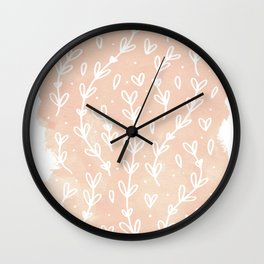 Blush Vines Wall Clock
