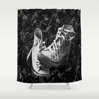 converse Shower Curtains featuring Abandoned Converse by Holly O'Briant