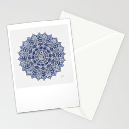 12-Fold Mandala Flower in Blue Stationery Cards
