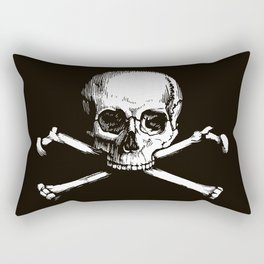 Skull and Crossbones   Jolly Roger   Pirate Flag   Black and White   Rectangular Pillow