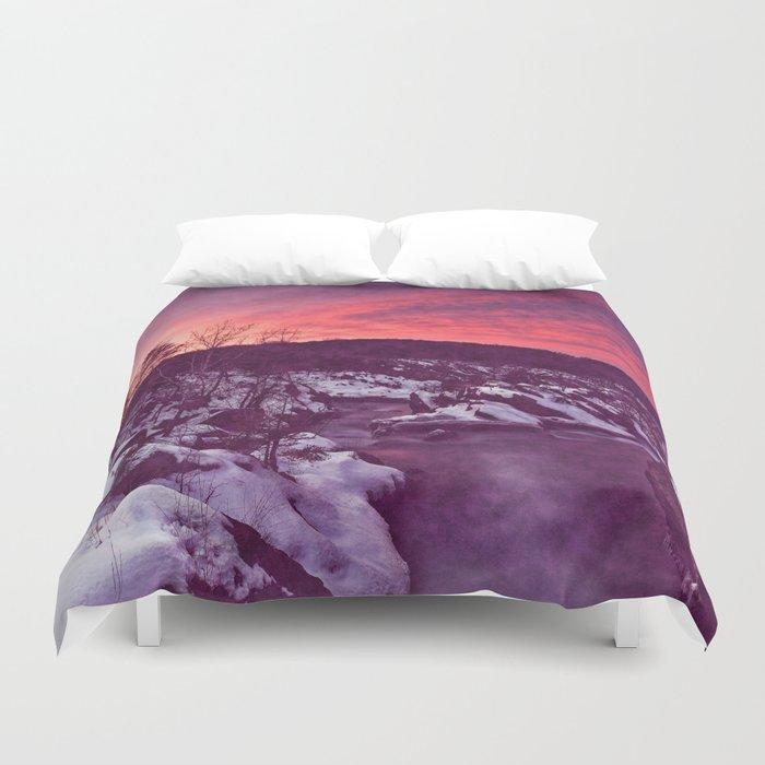 Great Falls Winter Twilight - Violet Velvet Fantasy Duvet Cover