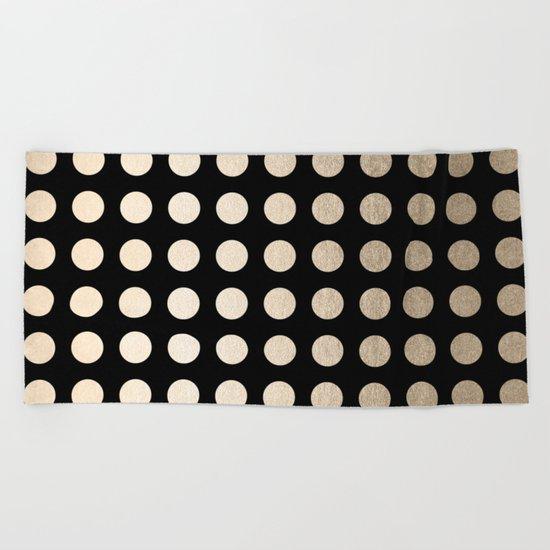 White Gold Sands Polka Dots on Midnight Black Beach Towel