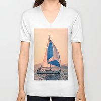 racing V-neck T-shirts featuring  Yacht racing by Svetlana Korneliuk