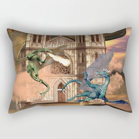 The dragon fight Rectangular Pillow