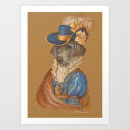 Weimaraner. Lady with Blue Eyes. Art Print