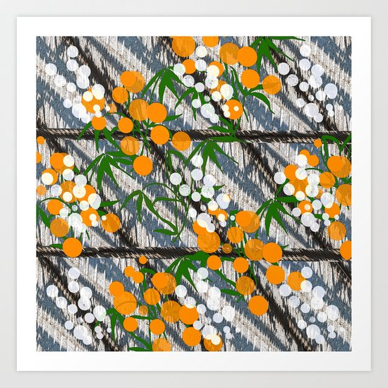 White and orange dots Art Print
