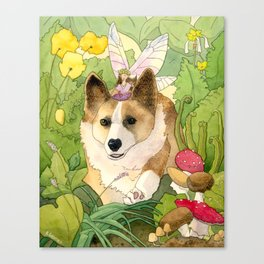 The Faerie and the Welsh Corgi Canvas Print