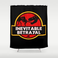 jurassic park Shower Curtains featuring Jurassic Betrayal by Perdita