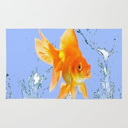 DECORATIVE  GOLDFISH SPLASHING  WATER ART Rug