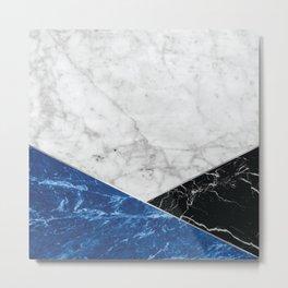 Geometric White Marble - Blue Granite & Black Granite #514 Metal Print