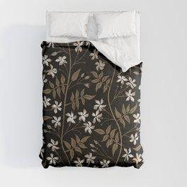 Star jasmine creeper - ochre, white and black Comforters