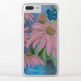 Cone flowers in blue jar Clear iPhone Case