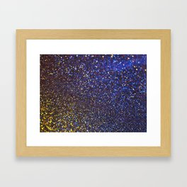 Blue and Gold Sparkles Framed Art Print