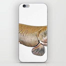 Atractosteus Spatula Fish Profile Fishnet Leather Front Fins iPhone Skin