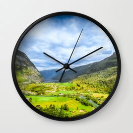 Small Village within mountains Wall Clock