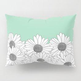 Daisy Boarder Mint Pillow Sham