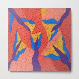 Orange Desert Flowering Abstract Metal Print