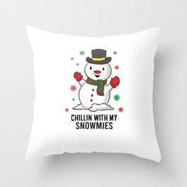 Cute Christmas Snowman Chillin WIth My Snowmies Xmas Snowman Throw Pillow