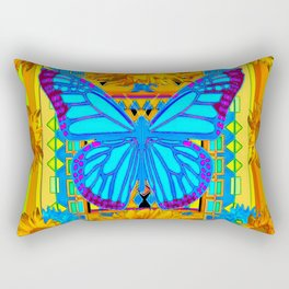 Lime Sunflower Blue Butterfly Floral Rectangular Pillow