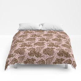 Pegasus Pattern Dusty Rose and Brown Comforters