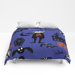 Cute Dracula and friends blue #halloween Comforters