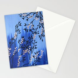 cherry blossom tree painting, in the snow Stationery Cards