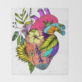 Corazón con flores Throw Blanket