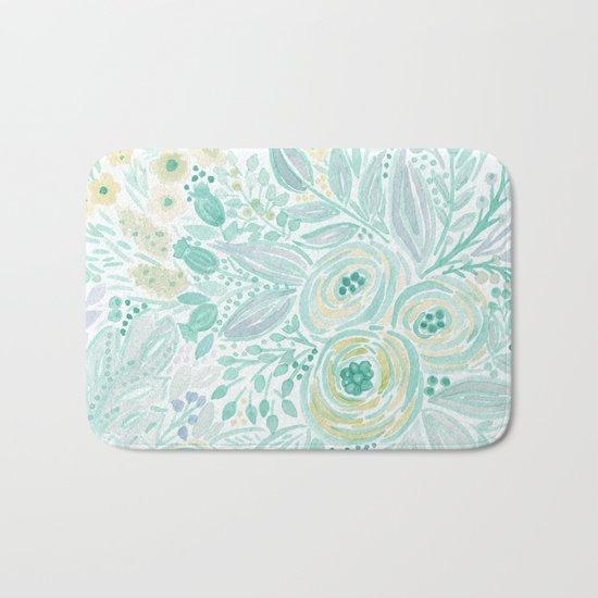 Watercolor . Flower meadow . 2 Bath Mat