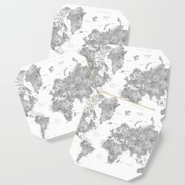 Grayscale watercolor world map with cities Coaster