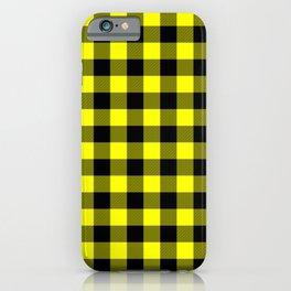 Bright Yellow and Black Lumberjack Buffalo Plaid Fabric iPhone Case