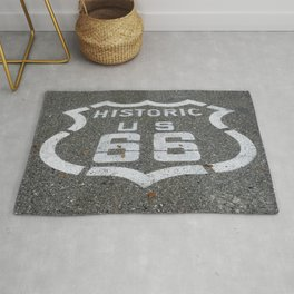 Route 66 sign on the road Rug