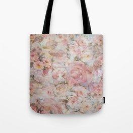 Vintage elegant blush pink collage floral typography Tote Bag