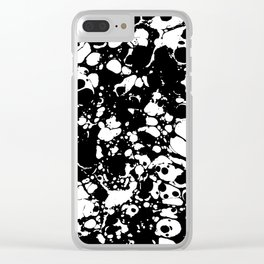 Black and white contrast ink spilled paint mess Clear iPhone Case