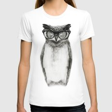 Mr. Owl LARGE White Womens Fitted Tee