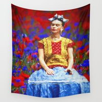 tequila Wall Tapestries featuring FRIDA dreaming away by UtArt