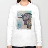 unicorn Long Sleeve T-shirts featuring Dark Unicorn by Michael Creese