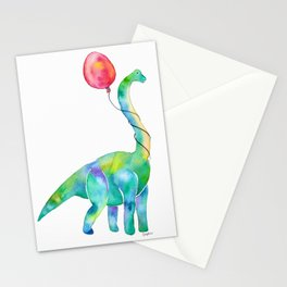 brachiosaurus with red balloon Stationery Cards