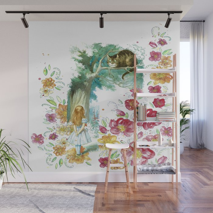 Floral Alice In Wonderland Wall Mural by maryedenoa Society6
