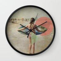 surfer Wall Clocks featuring Surfer  by Mary Kilbreath
