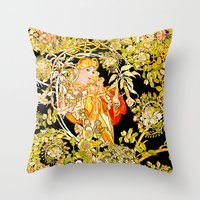 mucha Throw Pillows featuring Marguerite's Bower, Mucha by Vintage Era Art