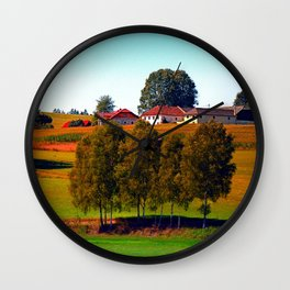 Guardian trees in front of a farm Wall Clock