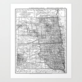Vintage Map of North and South Dakota (1891) BW Art Print