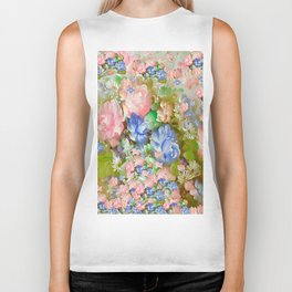 ROSES PINK AND PAINTERLY BLUE SO SHABBY CHIC Biker Tank