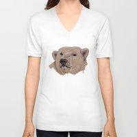 polar bear V-neck T-shirts featuring Polar Bear by Ursula Rodgers