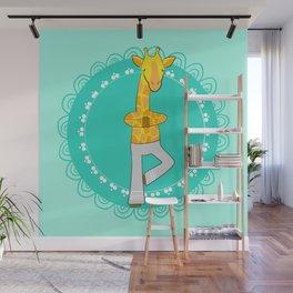 Yoga animals - Giraffe in tree pose Wall Mural