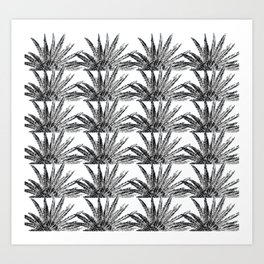 Abstract Palm Leaves in black and white Art Print