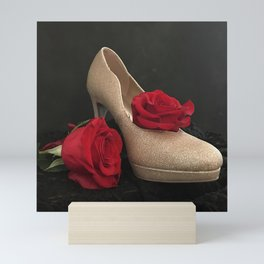Glitter Gold Stiletto and Two Red Roses Mini Art Print
