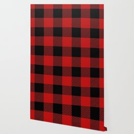 Western Country Woodland Christmas Cottage Primitive lumberjack Buffalo Plaid Wallpaper