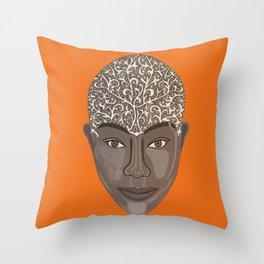 brown visage Throw Pillow